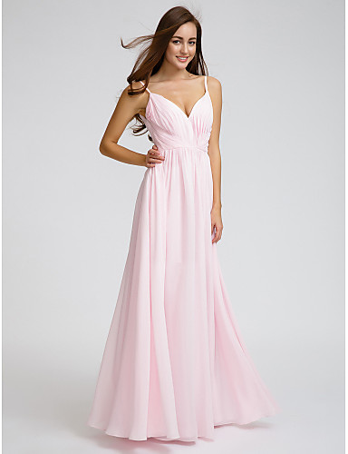 A-Line V Neck Spaghetti Straps Floor Length Chiffon Bridesmaid Dress with Criss Cross Side Draping by LAN TING BRIDE®
