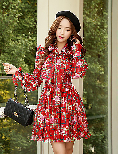 Women's 2016 New Spring Red Bow Long Sleeve  Bubble Skirt Dress