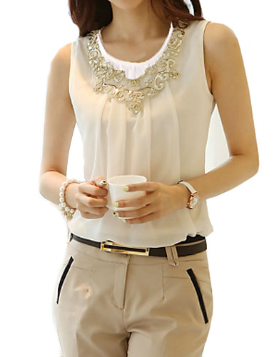Women's Street chic Plus Size Blouse - Solid Colored Lace Beaded