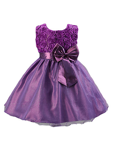 cheap The Eid Is Coming!-Kids Girls' Sweet Party Solid Colored / Floral Bow Sleeveless Cotton / Acrylic / Polyester Dress Red