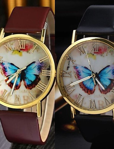 Women's Fashion Watch Quartz Casual Watch Leather Band Butterfly Black Brown