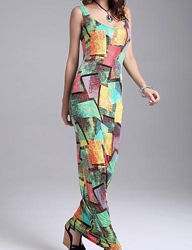 Women's Beach Casual Bodycon Dress,Galaxy U Neck Maxi Sleeveless Cotton Acrylic Summer Mid Rise Micro-elastic Thin
