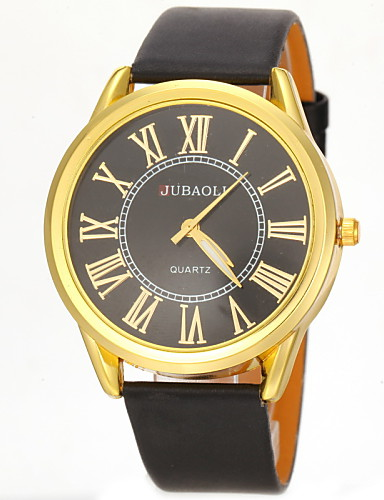 JUBAOLI Men's Quartz Wrist Watch Casual Watch PU Band Charm Black White