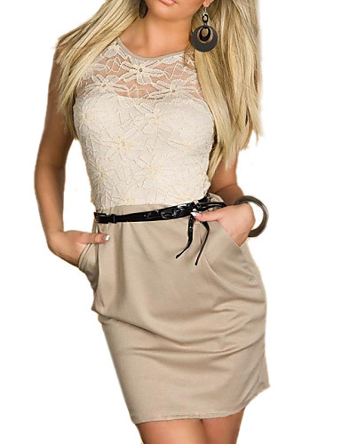 Women's Sexy Lace Hollow Flower Patchwork Bodycon Dress