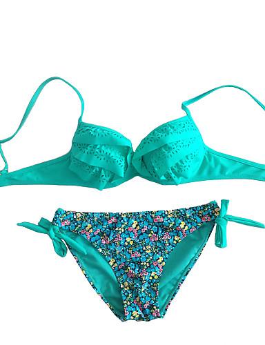 Bayanlar Çiçekli Naylon / Spandeks Destekli Destekli / Pedli Sutyen / Balenli Sütyen Bayanlar Bikiniler