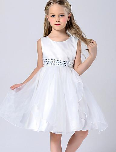 Vestido de menina de flor de joelho com uma linha de joias - colar de jóias sem mangas de poliéster com fita adesiva