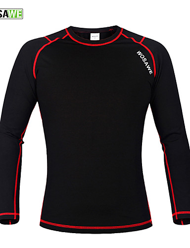 cheap Cycling Clothing-WOSAWE Men's Women's Long Sleeve Black / Red Bike Base layer Jersey Compression Clothing Thermal / Warm Sports Winter Polyester 100% Polyester Fleece Mountain Bike MTB Road Bike Cycling Clothing