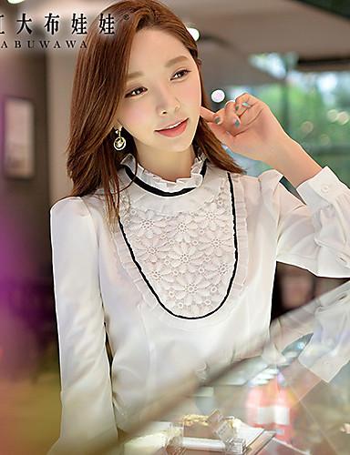 여성의 컬러 블럭 러프 카라 긴 소매 셔츠,심플 신사화 화이트 폴리에스테르 / 스판덱스 봄 중간