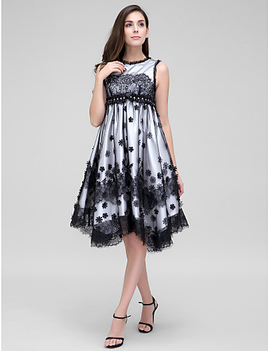 A-Linie Schmuck Asymmetrisch Spitze Tüll Cocktailparty / Abiball Kleid mit Kristall Verzierung Spitze Blume durch TS Couture®