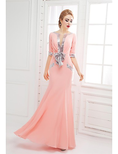 Mermaid / Trumpet Scoop Neck Floor Length Chiffon Formal Evening Dress with Bow(s) Sequins by SGSD