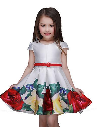 여아 꽃 플로럴 짧은 소매 드레스