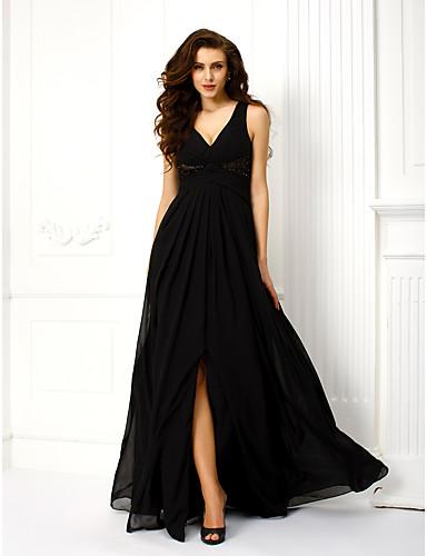 Γραμμή Α / Πριγκίπισσα Λαιμόκοψη V / Λουριά Μακρύ Σιφόν Στυλ Διασήμων Επίσημο Βραδινό Φόρεμα με Χάντρες / Χιαστί με TS Couture®