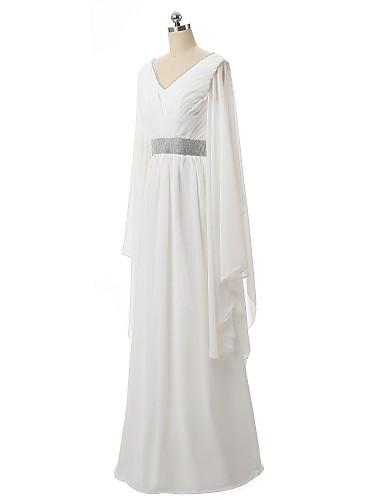 A-line V- צוואר אורך קומה שיפון שמלת ערב רשמית עם פנינה המפרטת צד תליון