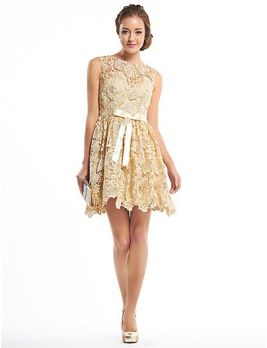 Γραμμή Α Εφαρμοστό & Εμβαζέ Illusion Seckline Κοντό / Μίνι Δαντέλα Κοκτέιλ Πάρτι Καλωσόρισμα Χοροεσπερίδα Φόρεμα με Δαντέλα με TS Couture®