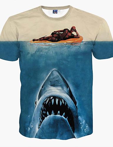 Herrn Tier-Grundlegend T-shirt,Rundhalsausschnitt Schlank Druck