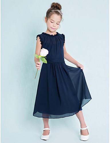 Sütun Taşlı Yaka Diz Altı Şifon Kurdeleler Pileler ile Çocuk Nedime Elbisesi tarafından LAN TING BRIDE®