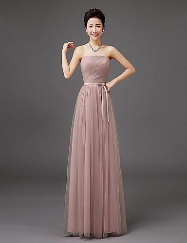 bainha / coluna comprimento do chão strapless vestido de dama de pé de tul com arco por qqc nupcial