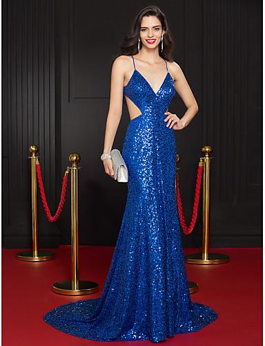 Trompet / Deniz Kızı Boyun eğme çizgisi Uzun Kuyruk Payetli Payet ile Resmi Akşam Elbise tarafından TS Couture®