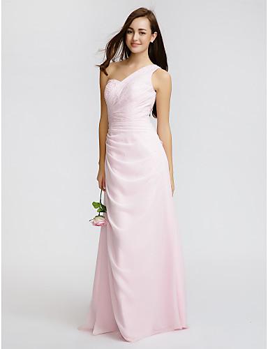 Sheath / Column One Shoulder Floor Length Chiffon Bridesmaid Dress with Beading Side Draping by LAN TING BRIDE®