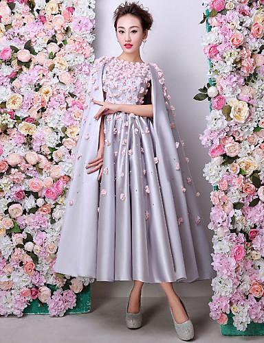 Linha A Decorado com Bijuteria Longuette Cetim Charmeuse Evento Formal Vestido com Flor(es) Detalhes em Pérolas de Huaxirenjiao