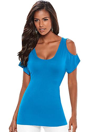 Majica s rukavima Ženski,Jednostavno Ležerno/za svaki dan Jednobojni-Kratkih rukava Okrugli izrez-Ljeto Plava / Crna Srednje Poliester
