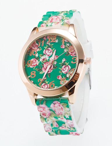 בגדי ריקוד נשים שעוני אופנה שעונים יום יומיים קווארץ סיליקוןריצה להקה פרח שחור לבן כחול ירוק סגול ורד