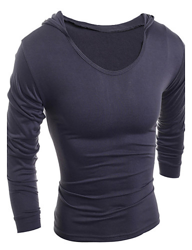 cheap Men's Tees & Tank Tops-Men's Daily Sports Cotton T-shirt - Solid Colored Hooded Black L / Long Sleeve
