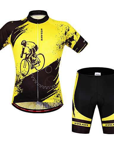 cheap Cycling Clothing-WOSAWE Men's Women's Short Sleeve Cycling Jersey with Shorts - Yellow / Black Bike Shorts Bib Shorts Jersey Breathable 3D Pad Quick Dry Anatomic Design Reflective Strips Sports Elastane Painting