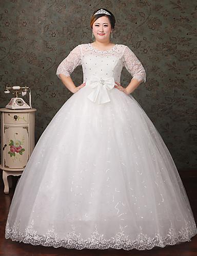 גזרת A עד הריצפה תחרה טול שמלת חתונה עם קריסטל תחרה על ידי