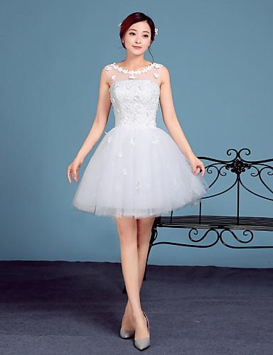 גזרת A קצר \ מיני תחרה טול שמלת חתונה עם תחרה על ידי