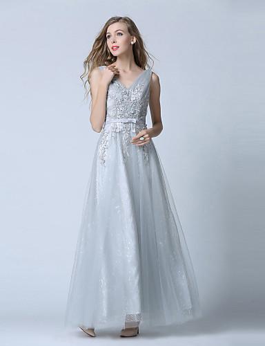 볼 드레스 V-넥 발목 길이 레이스 튤 댄스 파티 포멀 이브닝 드레스 와 레이스 허리끈/리본 으로 TS Couture®