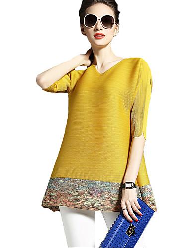 Damen Bluse, V-Ausschnitt Druck Kunstseide Polyester