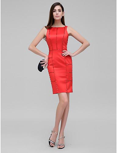 Eng anliegend Bateau Hals Knie-Länge Satin Abiball Kleid mit Kristall Verzierung durch TS Couture®