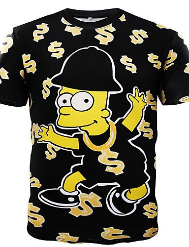 Bomull T-skjorte Herre Trykt mønster Sport
