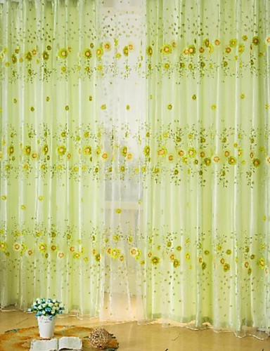 cheap Sheer Curtains-Rod Pocket One Panel Curtain Country, Print Living Room Polyester Material Sheer Curtains Shades Home Decoration