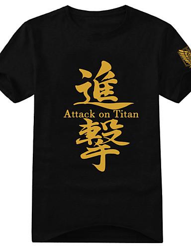 povoljno Anime kostimi-Inspirirana Napad na Titanu Eren Jager Anime Cosplay nošnje Japanski Cosplay majica Print Kratkih rukava T-majica Za Muškarci / Žene