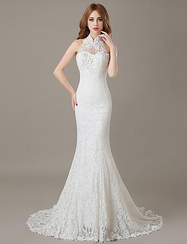 trompeta / sirena halter corte corpiño en encaje vestidos de novia