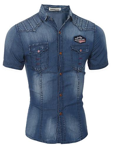 남성의 셔츠 컬러 블럭 짧은 소매 캐쥬얼 / 정장 면 블루