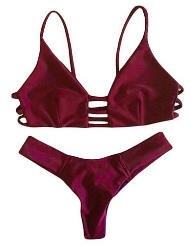 Damen Bandeau Bikinis - Rückenfrei, Solide Gurt Cheeky-Bikinihose