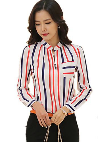 billige Topper til damer-Skjortekrage Store størrelser Bluse Dame - Stripet Hvit / Høst / fin Stripe