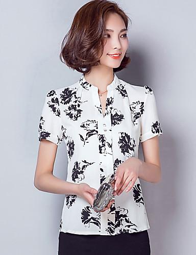 여성의 프린트 V 넥 짧은 소매 셔츠,심플 / 스트리트 쉬크 작동 화이트 레이온 / 폴리에스테르 여름 얇음
