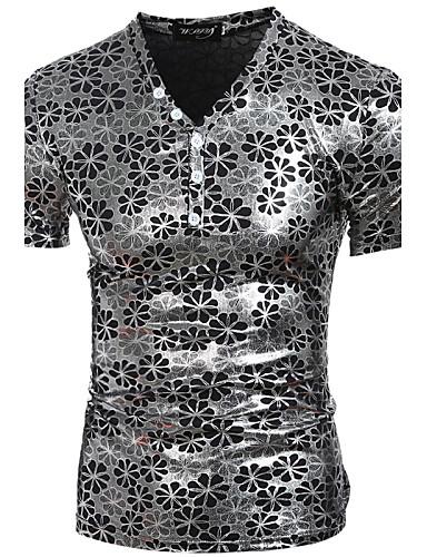 Pánské - Jednobarevné Čínské vzory Tričko Bavlna Kulatý