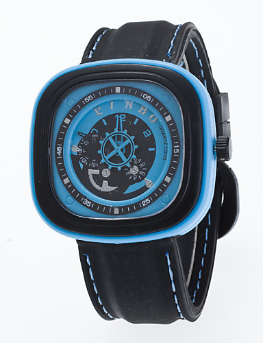 Homens Relógio de Moda Quartzo Silicone Banda Preta
