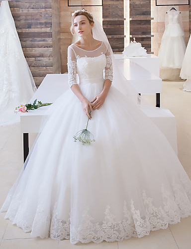 cheap Wedding Dresses-Ball Gown Jewel Neck Floor Length Lace Over Tulle Made-To-Measure Wedding Dresses with Appliques / Sash / Ribbon by LAN TING Express / Illusion Sleeve