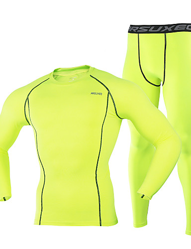 cheap Cycling Clothing-Arsuxeo Men's Long Sleeve Cycling Base Layer - Gray Light Green Dark Navy Bike Tights Thermal / Warm Breathable Quick Dry Winter Sports Spandex Mountain Bike MTB Road Bike Cycling Clothing Apparel