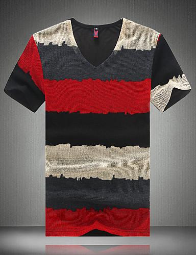 Veći konfekcijski brojevi Majica s rukavima Muškarci Dnevno Sport Rad Prugasti uzorak Color block