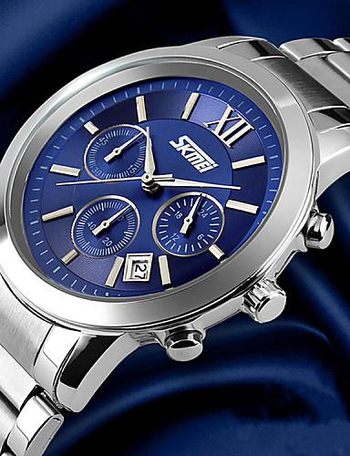 SKMEI Homens Relógio de Pulso Quartzo Calendário Impermeável Aço Inoxidável Banda Luxo Prata