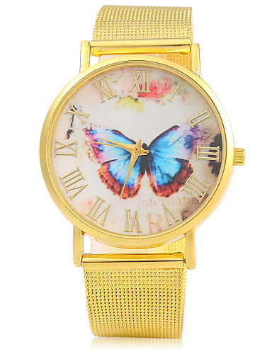 Mulheres Relógio de Pulso Quartzo Venda imperdível Lega Banda Analógico Borboleta Fashion Dourada - Dourado