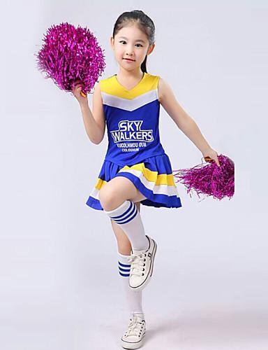 voordelige Shall We®-Cheerleaderpakjes Outfits Prestatie Polyester Geplooid Mouwloos Hoog Top / Rok