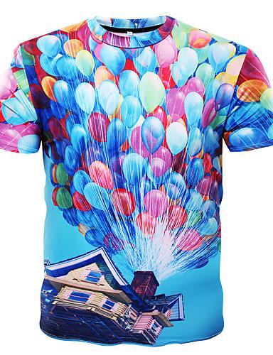 남성 프린트 짧은 소매 티셔츠 일상 스포츠 면